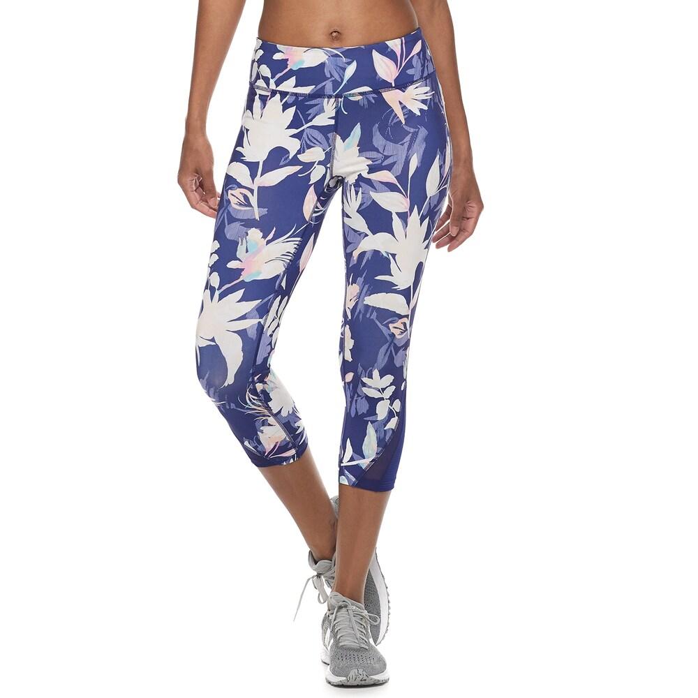 40e64f5c9e977a Women's Tek Gear Performance Mixed Media Midrise Capri Leggings, Size:  Medium, Dark Blue