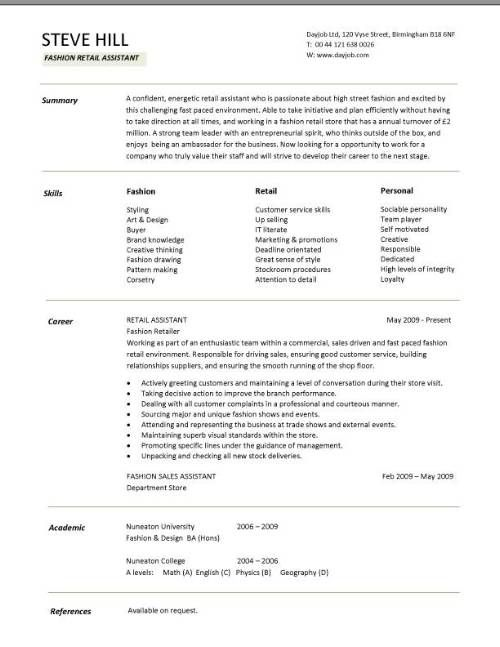Sample CV targeted at fashion retail positions School - sales assistant resume