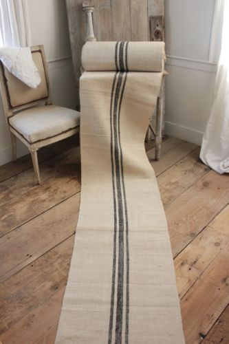 Vintage STAIR RUNNER HEMP Fabric Material HOMESPUN BLACK RARE Per 1yd