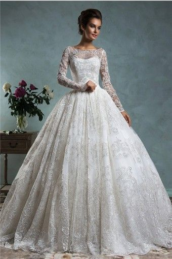 Classy Ball Gown Bateau Neck Long Sleeve Vintage Lace Wedding