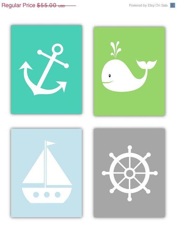 Nursery Art Nautical Wall 4 8x10 Prints Or Toddler Room On Etsy 41 25