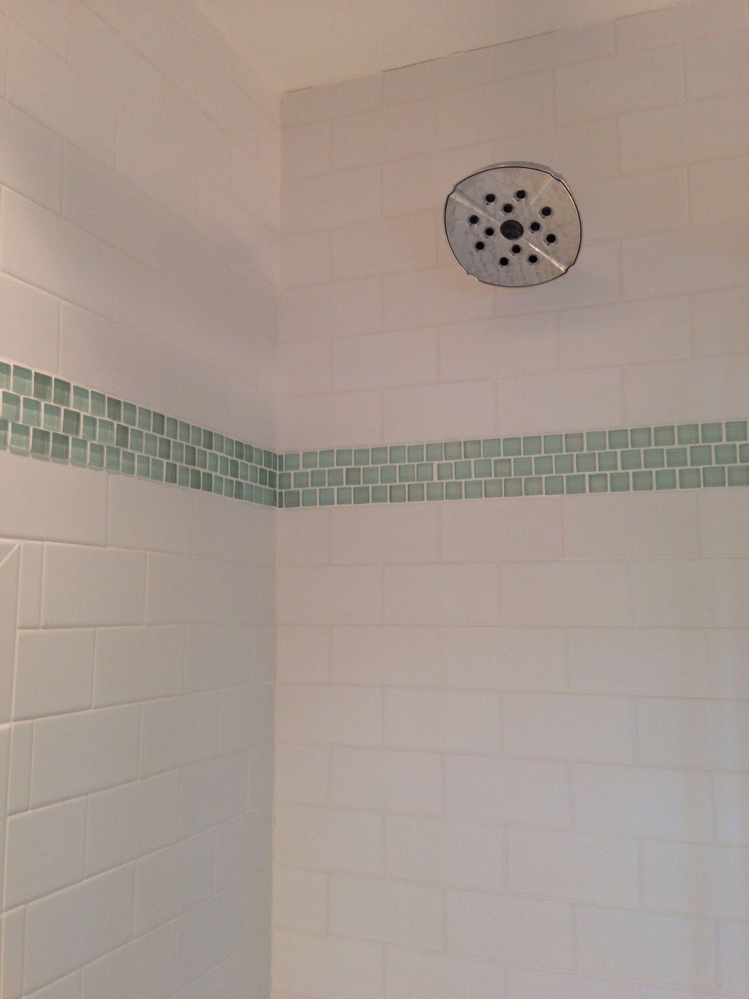 Glass mosaic tile border. Inexpensive way to dress up plain tile ...