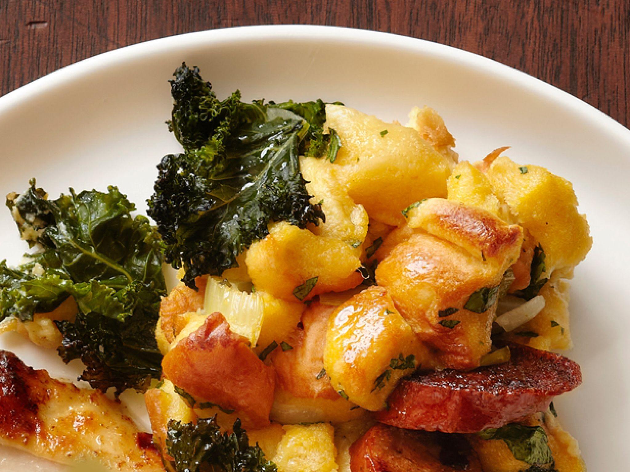 Potato Bread Kale Stuffing With