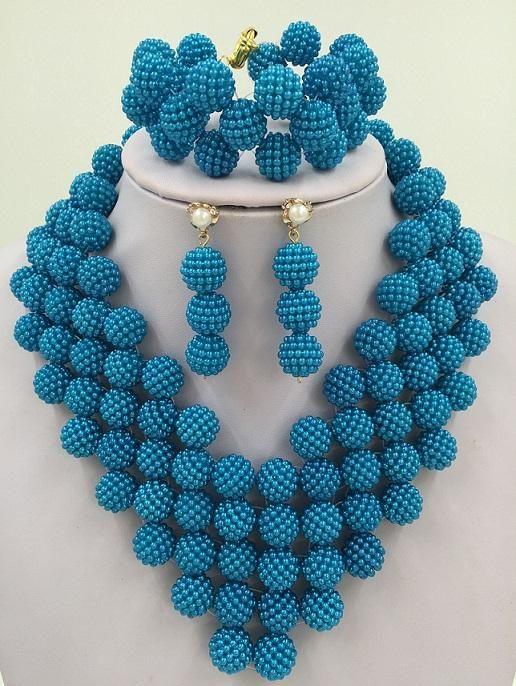 Handmade Multicolor African Beads Jewelry Sets 18k Nigerian Beads