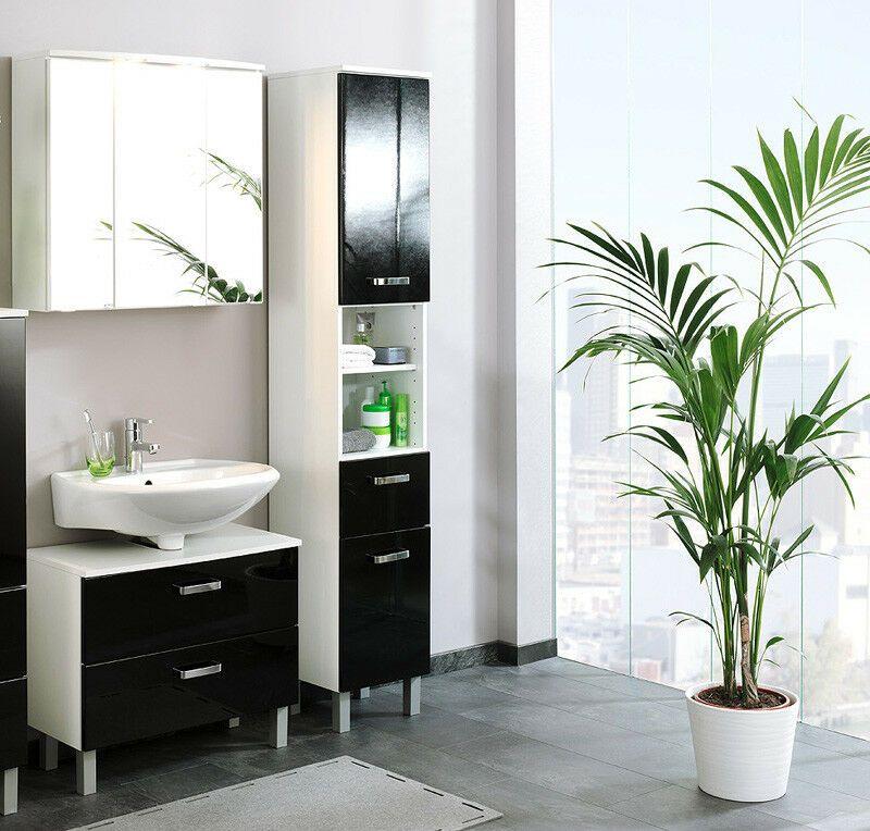 Badezimmerschrank Schwarz Hochglanz