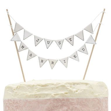 Vintage Lace -Just Married Lippukoriste kakkuun