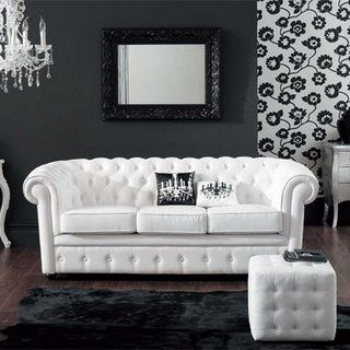 Black White Modern Living Room With Tufted Couch And Ottoman