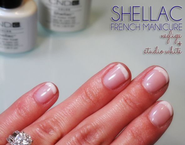 french manicure with cnd shellac colors negligee and. Black Bedroom Furniture Sets. Home Design Ideas