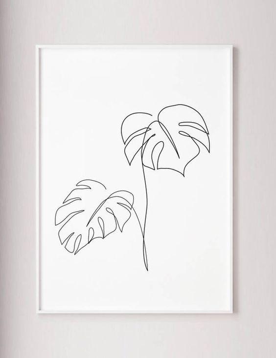 Photo of Monstera line art, Tropic leaves print, Abstract botanic plants wall decor, Minimalist art, Modern room decor, wabi sabi printable wall art