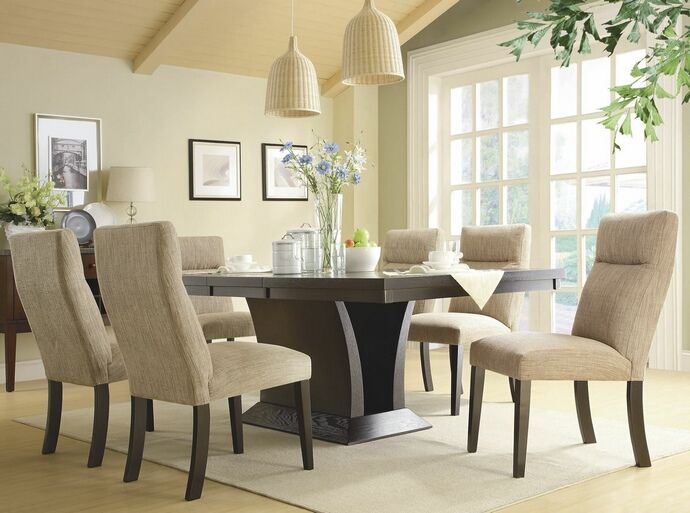 "7 pc Avery collection espresso finish wood dining table set with upholstered chairs. This set includes the table, 6 - side chairs with padded seats. Table measures 46"" x 60"" (78"" with 1 - leaf) x 30"" H. Side chairs measure 20"" x 27"" x 38"" H. Additional chairs also available separately. Some assembly required."