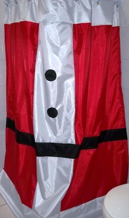 Cortina navideña en tela Cortinas de baño Pinterest