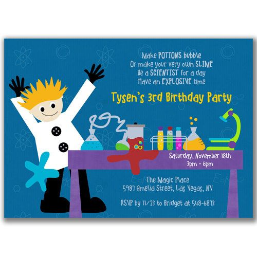 Science is Fun Invitations Boy for Kids Science Birthday by milelj, $22.00