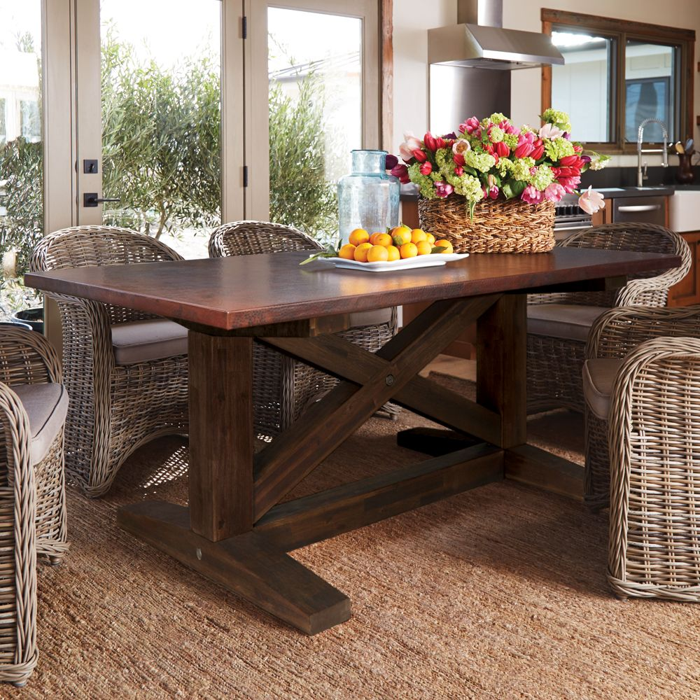 Copper Top Dining Room Tables Slate Farmhouse Kitchen: Native Trails' Trestle Farm Table With A Hand-hammered