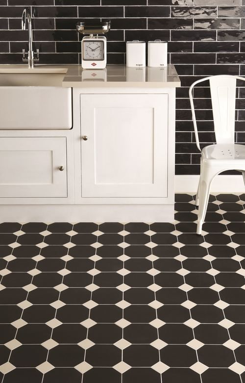 York Pattern In Black And Dover White Kitchen Portrait