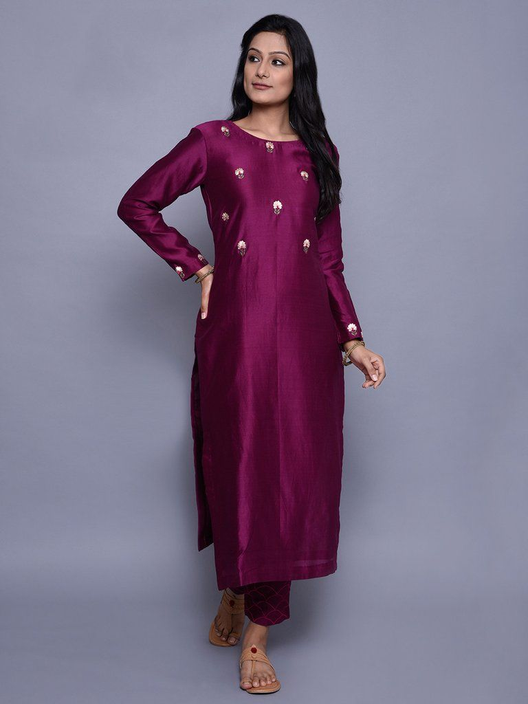 Burgandy Chanderi Embroidered Kurta with Mughal Embroidered Pants ...