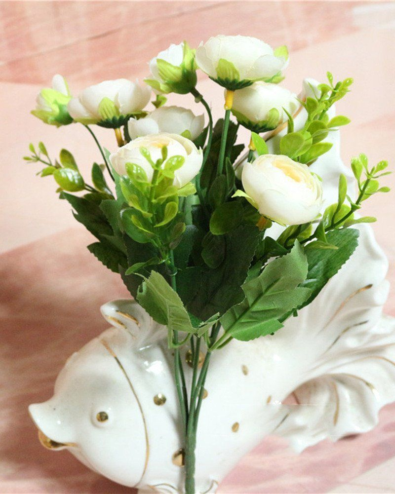 Lopkey Silk Artificial Flowers Tea Bunch With Small White Flower For