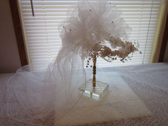 Bridal Veiling, wedding veil, vintage veiling bridal veiling wedding handband vintage veiling 70's Headband