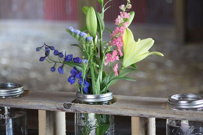 creating a mason jar centerpiece from old barn wood or pallets, diy, home decor, mason jars, outdoor living, pallet, repurposing upcycling, woodworking projects, Up close view of the wood and jars