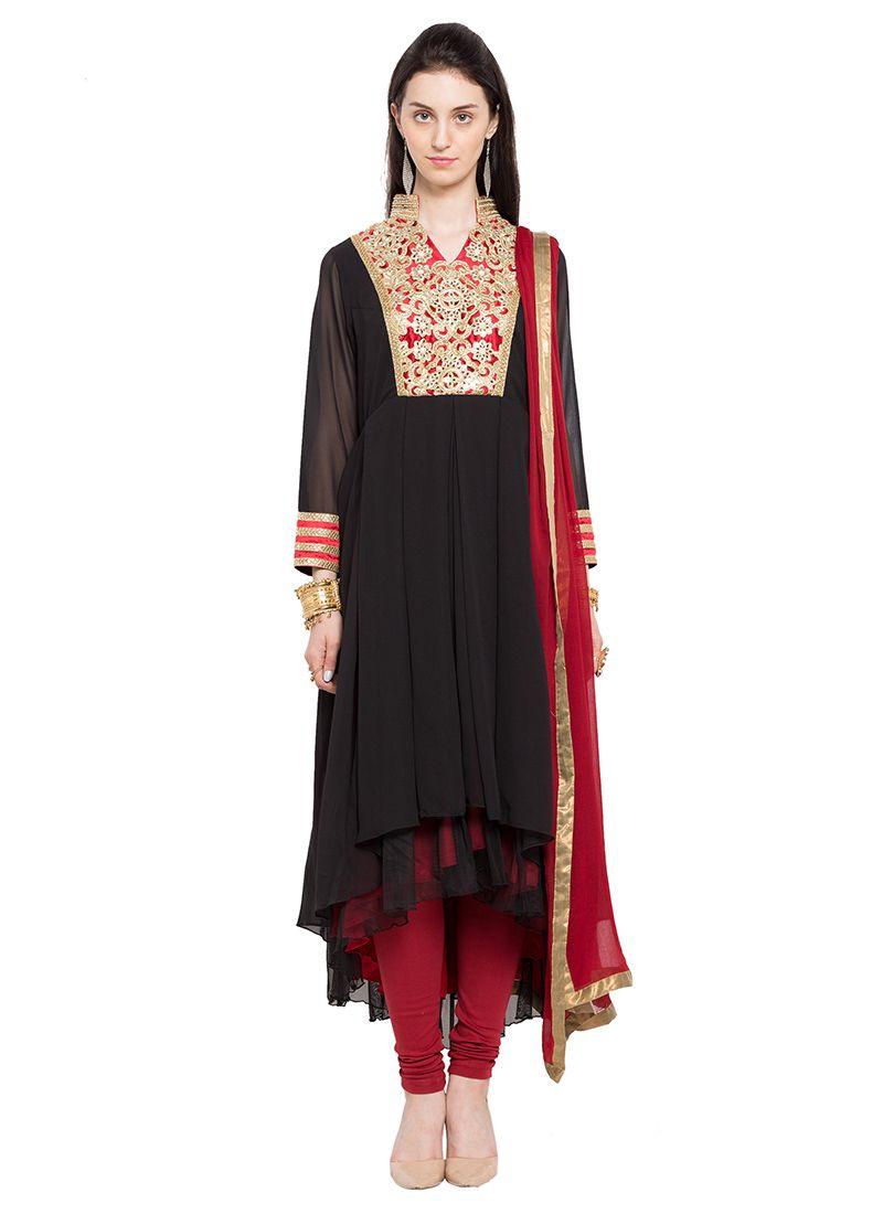 8a42d7a86f Black Georgette Asymmetrical Anarkali Suit Anarkali Suits, Suits For Women, Salwar  Kameez, Sarees