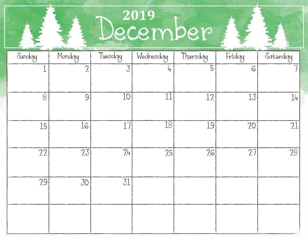Free Printable December 2019 Calendar Christmas Watercolor December 2019 Calendar | Calendar 2018 | Printable