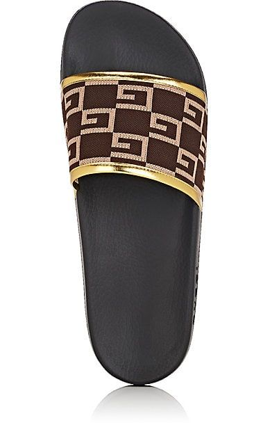 56a585c34b1fef  350.00 Gucci Slides - SOLD by Barneys New York - affiliate - Pursuit Knit  Slide Sandals - Sandals - Crafted of dark brown and light brown GG-logo-pattern  ...