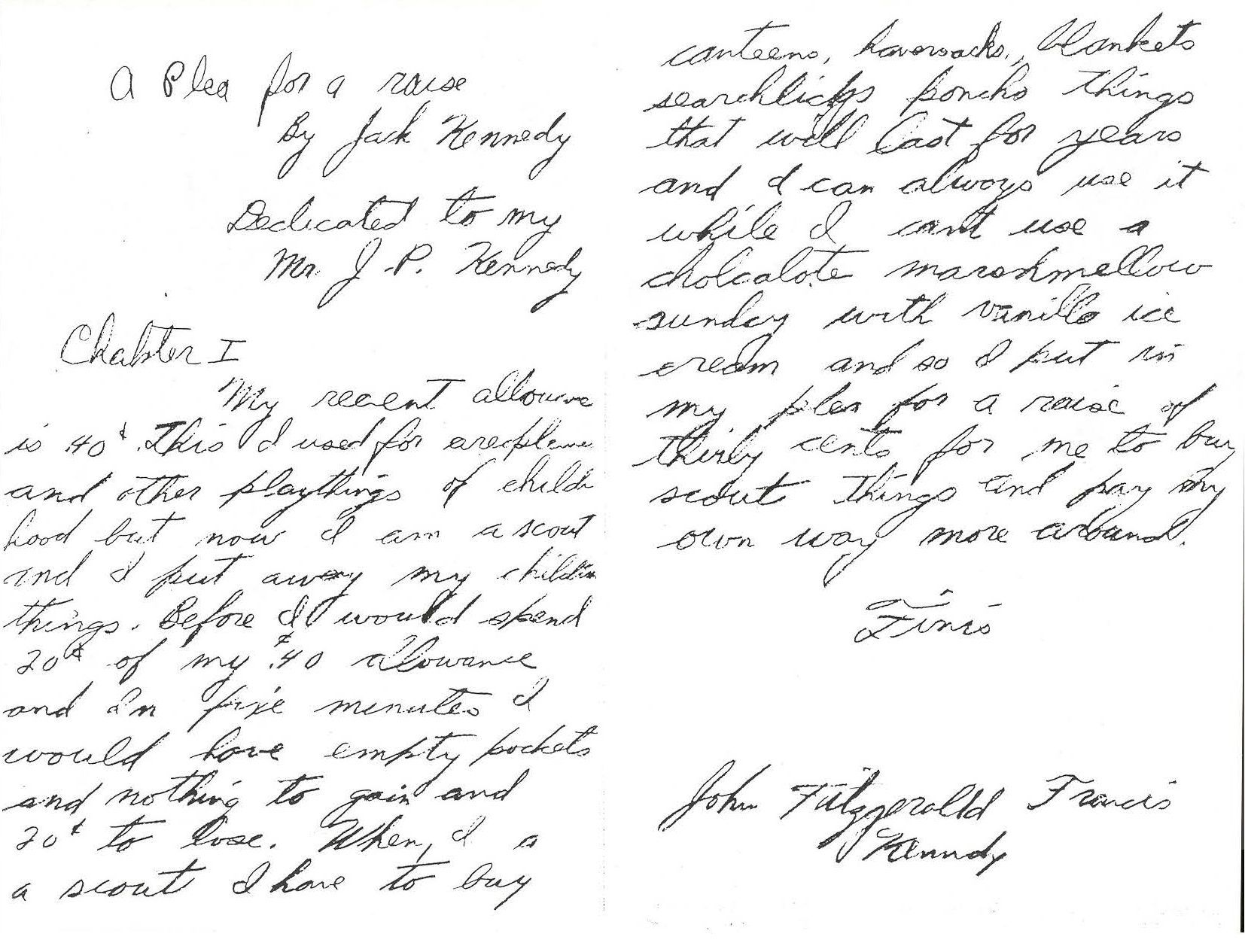 """JFK's """"plea for a raise"""" to his father, Joseph P. Kennedy, so he can buy his Boy Scouts supplies, From JFK Personal Papers Box http://www.jfklibrary.org/Asset-Viewer/Archives/JFKPP-001-010.aspx"""
