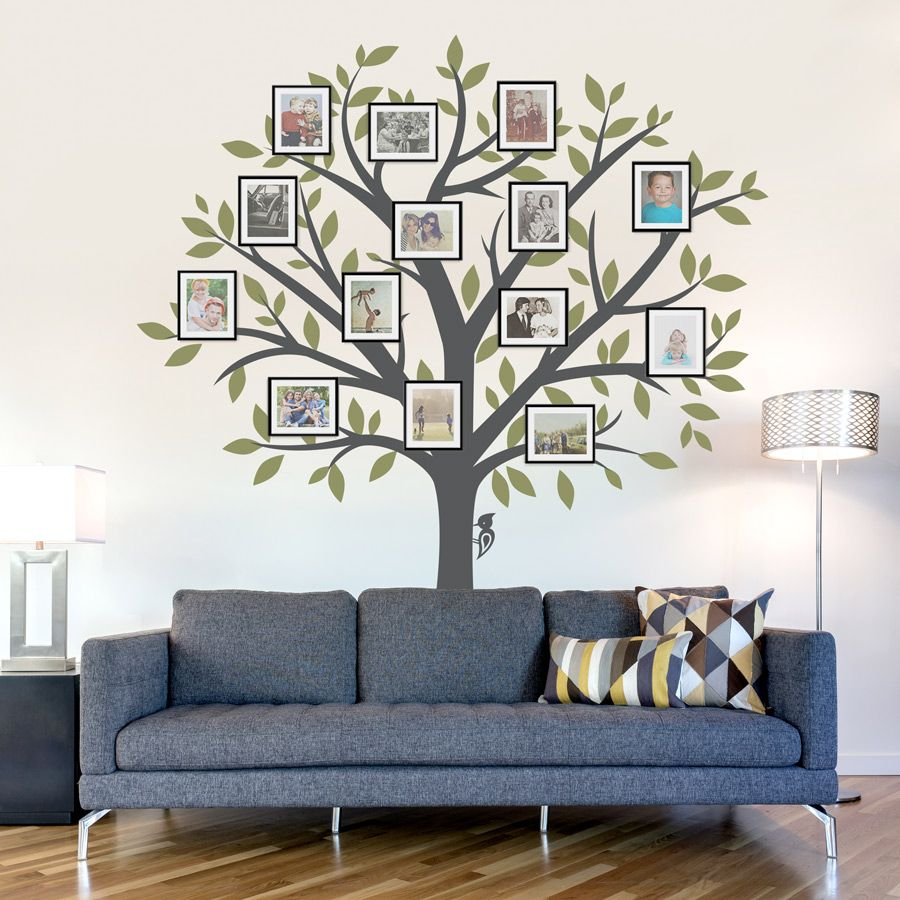 A great idea to add picture frames to a tree decal for a Family
