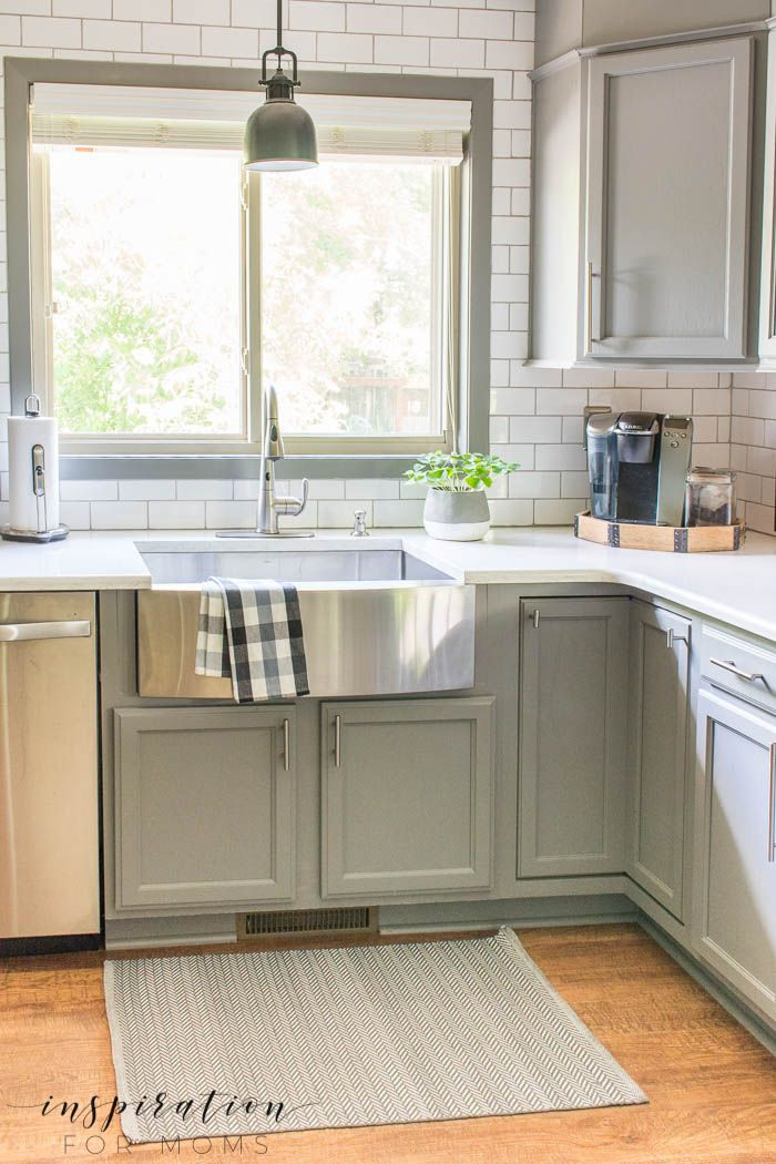 summer home tour kitchen gray cabinets white