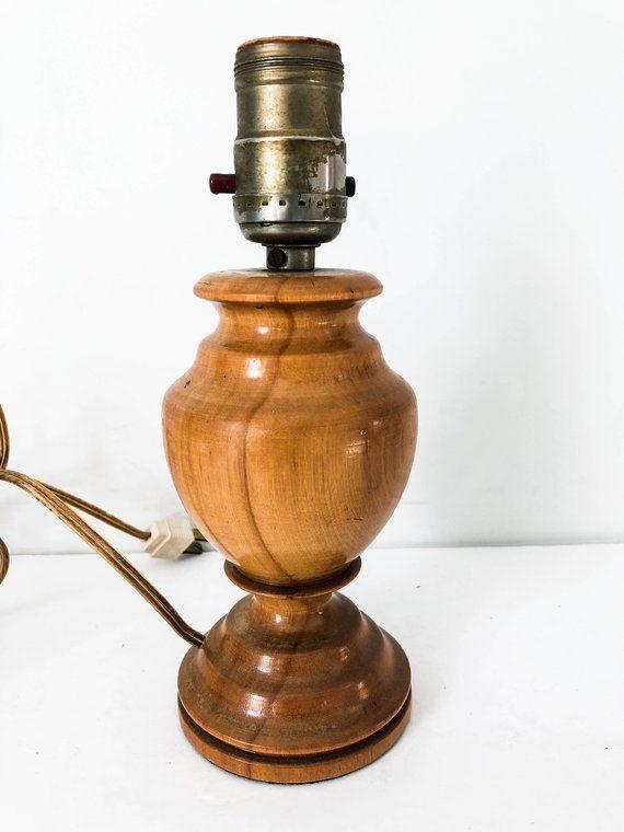 Vintage Small Solid Wood Lamp Base Vintage 60s Wood Table Lamp Boho Style Small Wood Lamp Wood Lamp Base Wood Lamps Table Lamp Wood