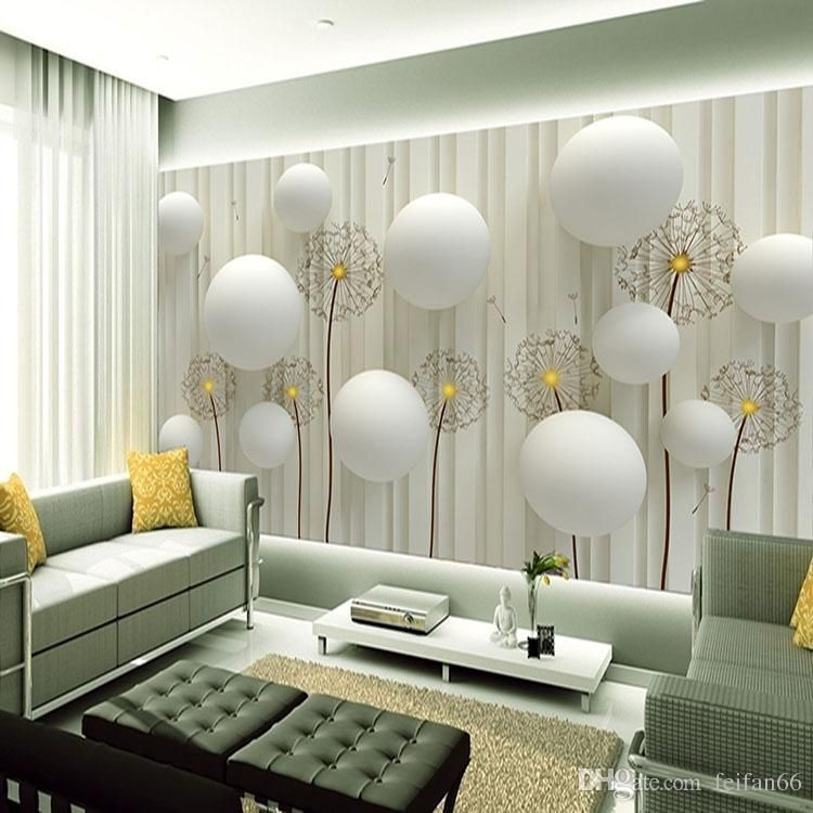 Dandelion With Romantic 3d Ball Photo Wallpaper Living Room Tv Wall Wallpaper 3d Backdr Living Room Wall Wallpaper Wallpaper Living Room 3d Wallpaper For Walls