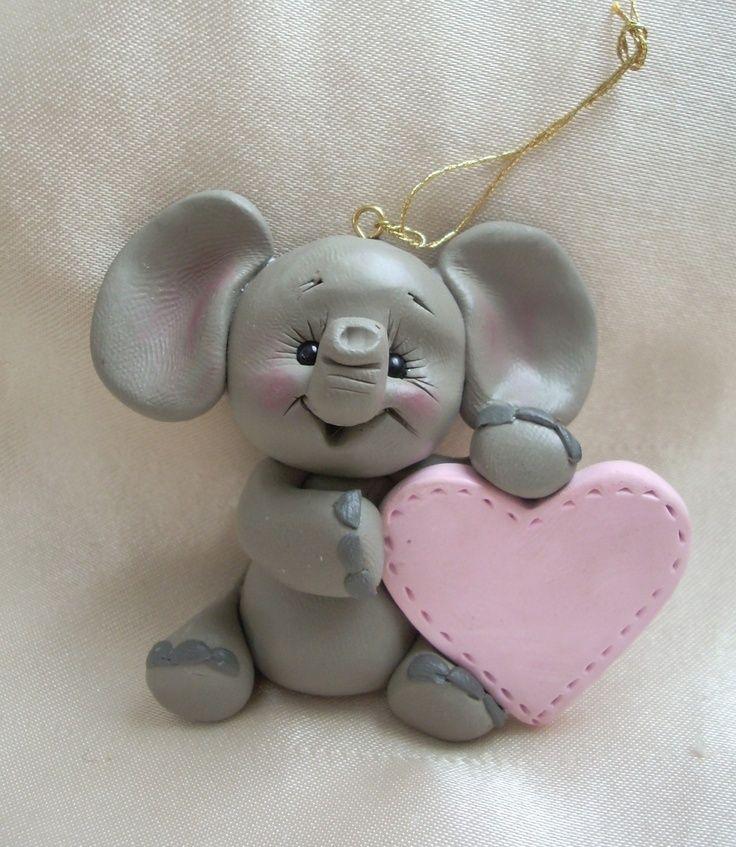 polymer clay elephant Christmas ornament sculpture ...