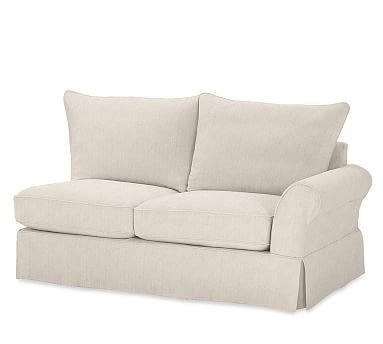 PB Comfort Roll Arm Right-arm Loveseat Slipcover, Knife Edge, Sunbrella(R) Performance Sahara Weave Oatmeal