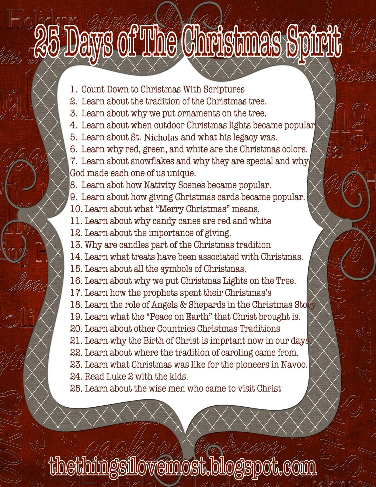 25 Days of the Christmas Spirit...each night focus on a different ...