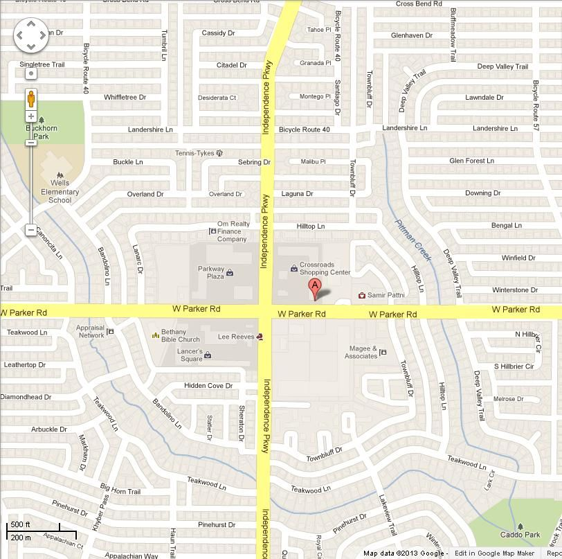 We are located at 3033 W Parker Rd Suite 217, Plano, TX