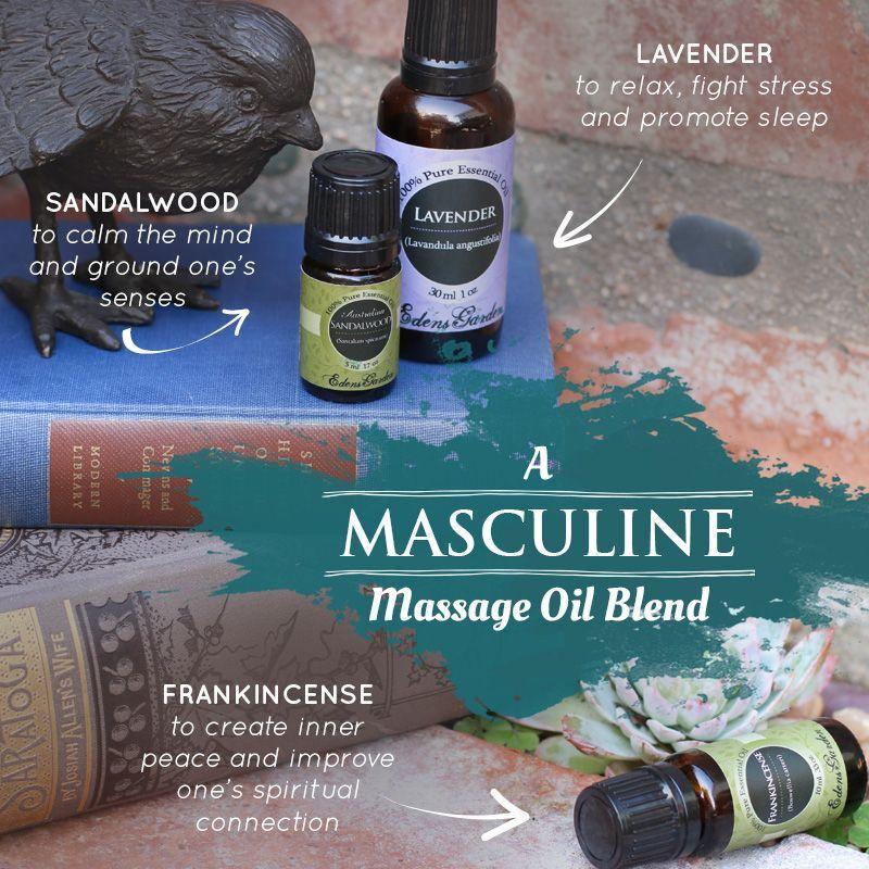 Essential Oils For A Romantic Massage   Edens Garden 1 oz Carrier Oil (Sweet Almond), 4 drops Frankincense, 2 drops Lavender and 8 drops Sandalwood. Smells heavenly! (Original recipe only uses 4 drops of Sandalwood.) #Massages