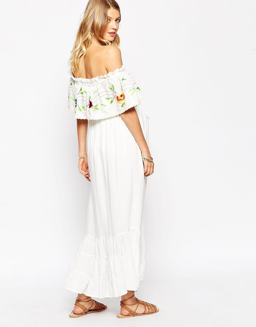 Fillyboo nursing off the shoulder maxi dress with floral embroidery