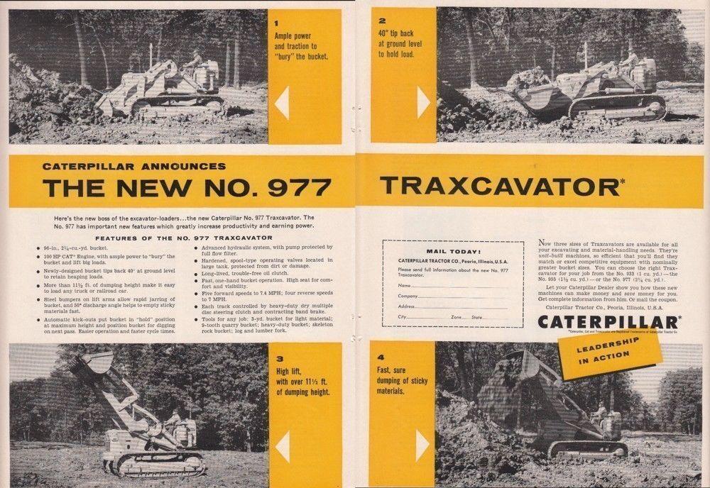 1956 Caterpillar Tractor Co Peoria IL Ad New Model No 977