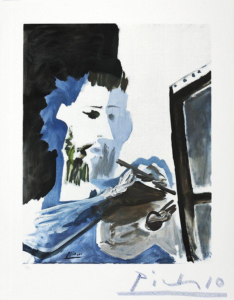 Pablo Picasso Le Peintre The Painter Collotype Potrait - Picassos vintage light drawings pleasure behold