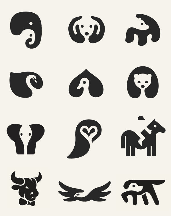 Negative Space Animal Icons by George Bokhua | Negative space