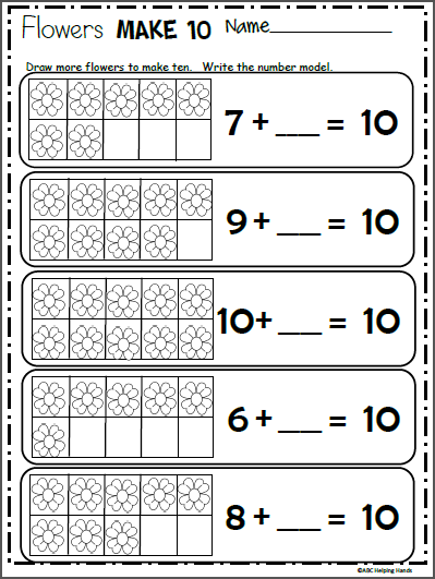 Spring Flowers Make 10 Made By Teachers Kindergarten Math Free Kindergarten Math Spring Math Worksheets
