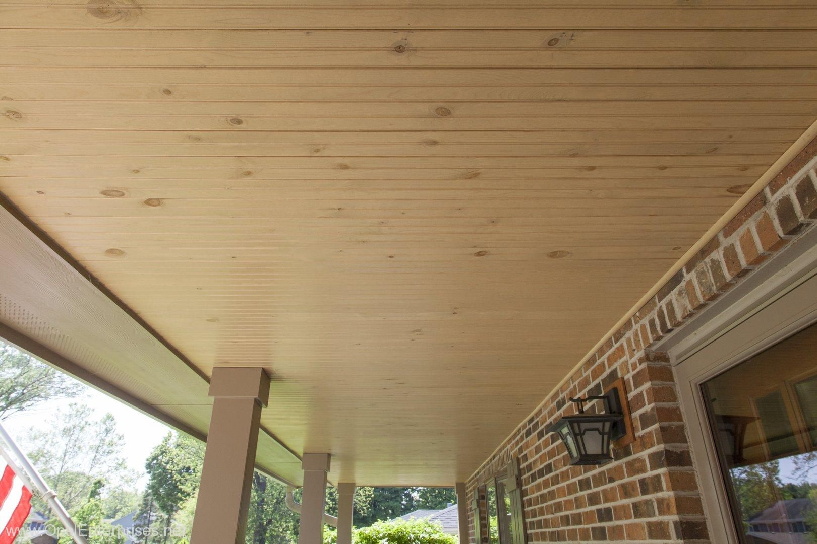 Cement Board Ceiling : Wooden porch ceiling installed by opal enterprises in