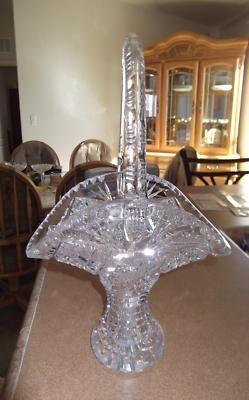 1900 Early American lead crystal cut glass basket | eBay
