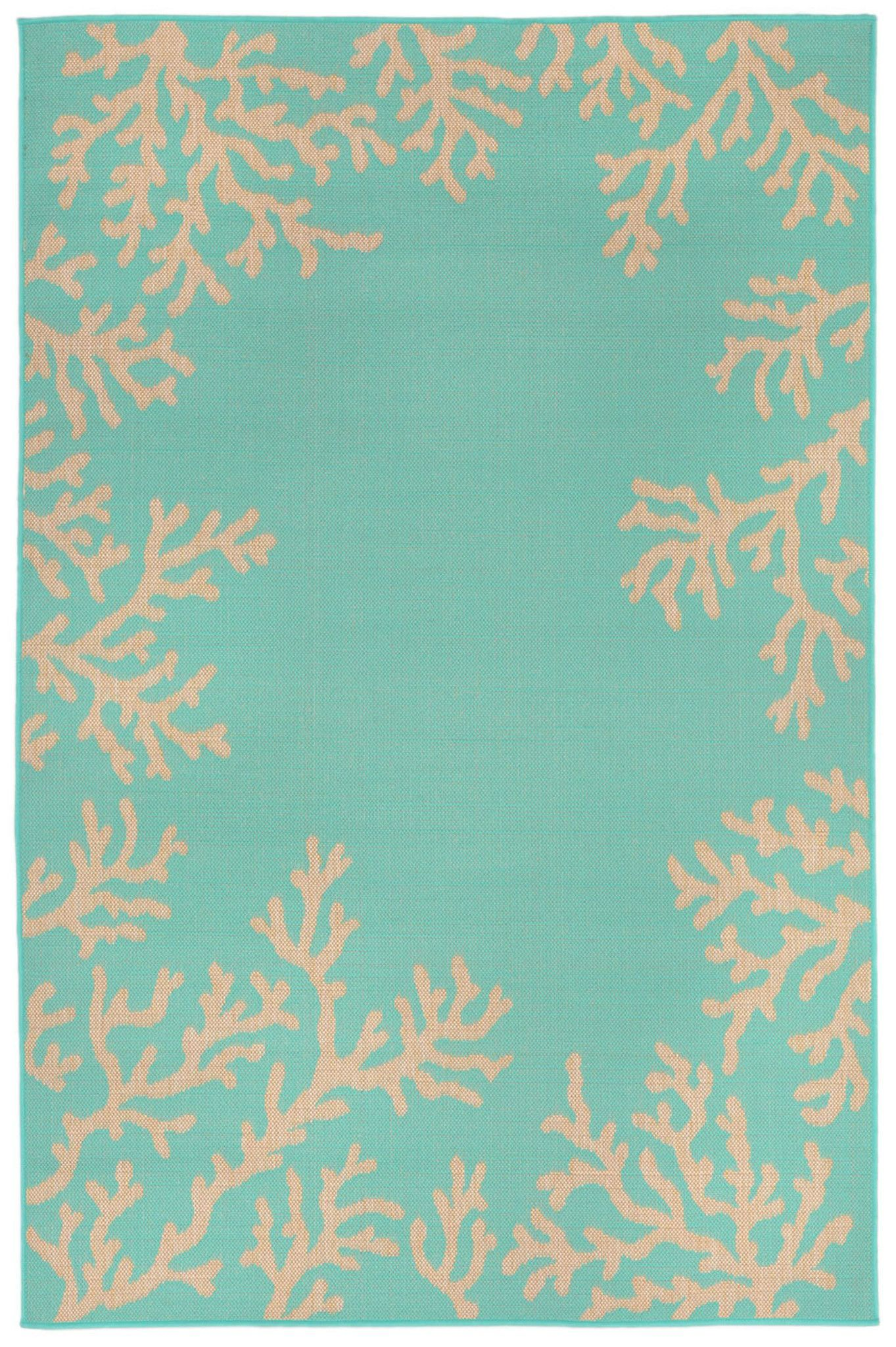 Terrace 1783 93 Coral Border Turquoise Rug Products