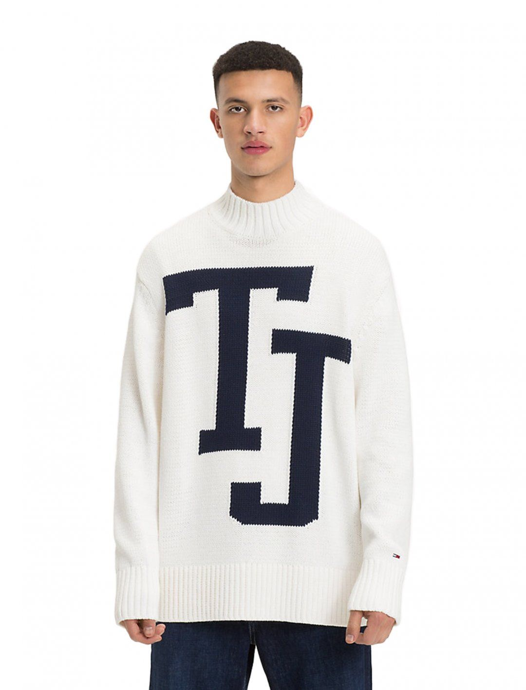 bd4bcfd3ebc Knitted Jumper, In White, With Tommy Jeans Logo from Tommy Hilfiger ...