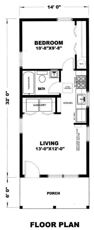 Gander 448 Sq Ft Cabin Plan Rectangle House Plans Small House Floor Plans Tiny House Floor Plans
