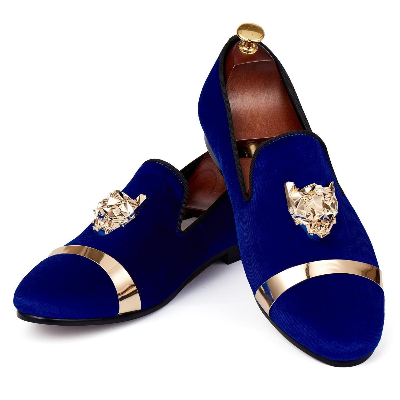 Harpelunde Men Flats Dress Shoes Blue Velvet Loafers With