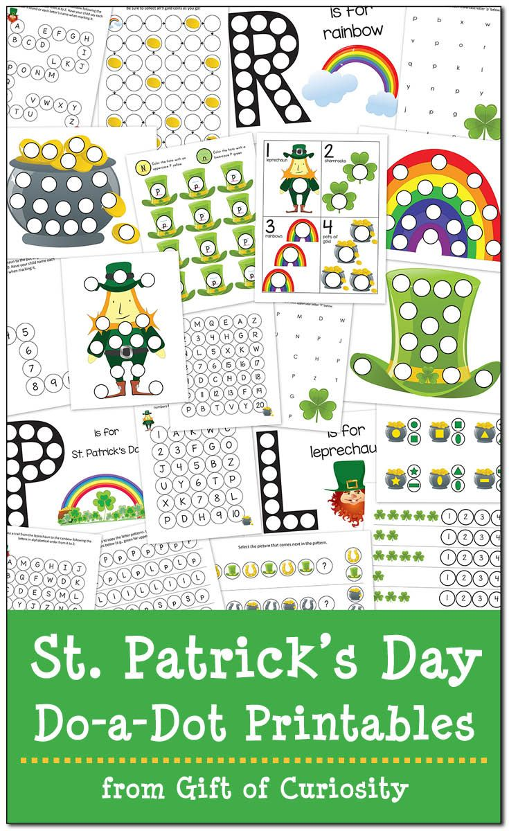 St. Patrick\'s Day Do-a-Dot Printables {free   Worksheets, Rainbows ...