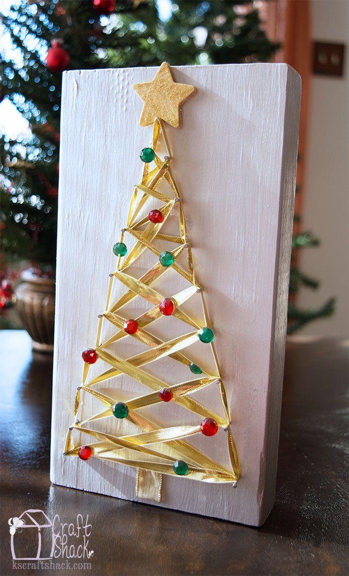 Gold Ribbon Christmas Tree Nail Art Christmas Tree Nail Art Tree Nail Art Holiday Crafts Diy
