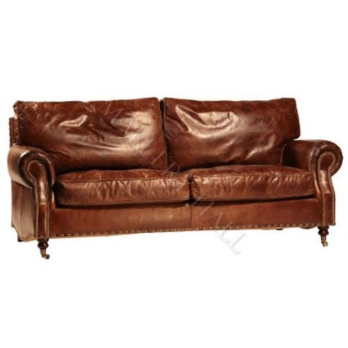 Vintage Ant Brown Distressed Leather Sofa With Brass Casters Ebay With Images Distressed Leather Sofa Vintage Leather Sofa Leather Sofa