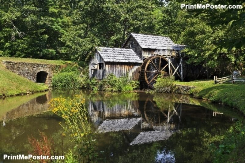 Mabry Mill on the Blue Ridge Parkway in Late Summer poster #poster, #printmeposter, #mousepad, #tshirt